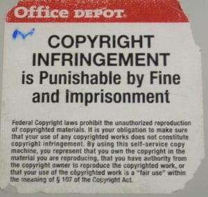Copyright infringement warning sign